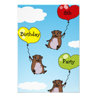 Hamster balloons 8th birthday party personalized invitation
