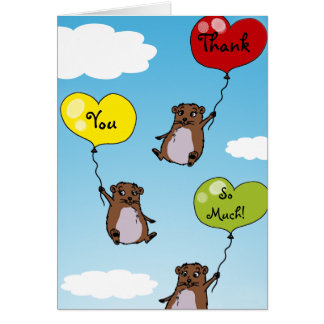 Hamster balloons, Thank you so much Card