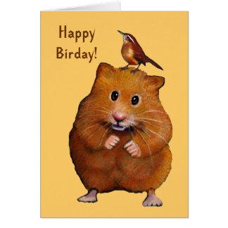 Hamster & Bird: Happy Bird Day, Birthday Card