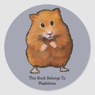 HAMSTER BOOK PLATE: ARTWORK CLASSIC ROUND STICKER
