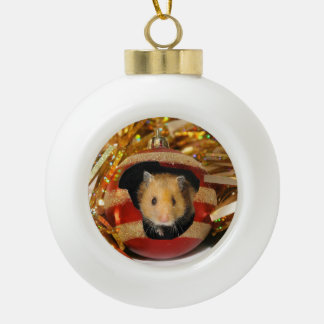 Hamster Christmas Ceramic Ball Christmas Ornament