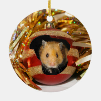 Hamster Christmas Ceramic Ornament