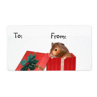 Hamster Christmas gift tag