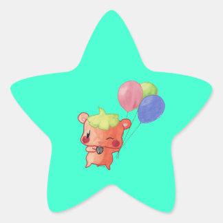 Hámster del Watercolour Pegatina En Forma De Estrella