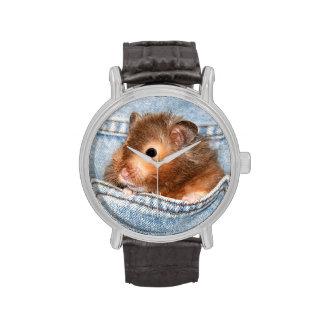 Hámster en tejanos relojes de pulsera