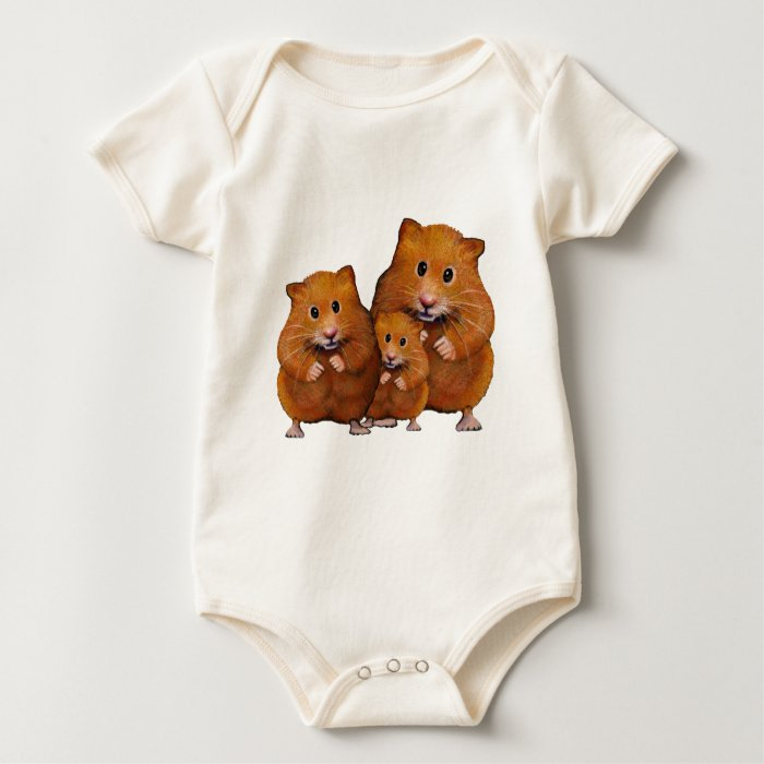 Hamster Family of Three: Cute: Color Pencil Baby Bodysuit