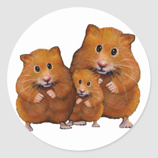Hamster Family of Three: Cute: Color Pencil Round Sticker