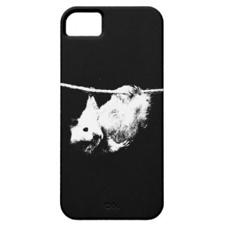 Hamster hanging out, Black and white iPhone case