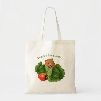 Hamster Hiding Behind Vegetables: Original Art Tote Bag