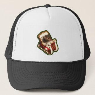Hamster in a sled trucker hat
