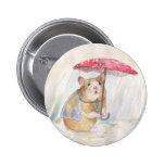 Hamster in the Rain- Funny Mushroom Pinback Button