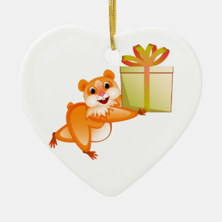 Hamster keeps the gift ceramic ornament