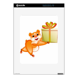 Hamster keeps the gift decals for the iPad