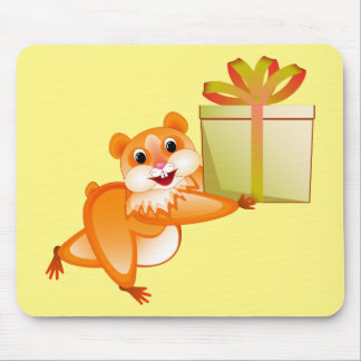 Hamster keeps the gift mouse pad