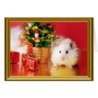 Hámster Kokolinka con el árbol de navidad Tarjeta De Felicitación