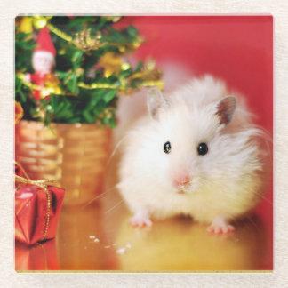 Hamster Kokolinka with Christmas tree Glass Coaster