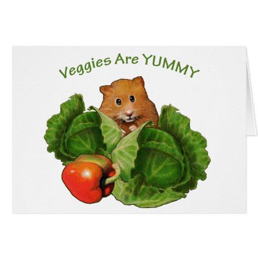 Hámster lindo: Los Veggies son deliciosos: Salud,  Tarjeta De Felicitación