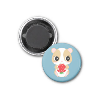 Hamster love strawberry by Pocket*Lounge 1 Inch Round Magnet