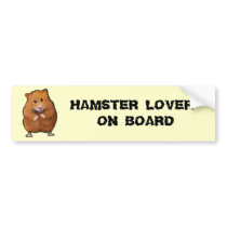 HAMSTER LOVER ON BOARD BUMPER STICKER