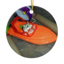 Hamster on a boat ceramic ornament
