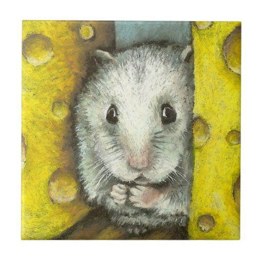 Hamster on a cheese shelf small square tile