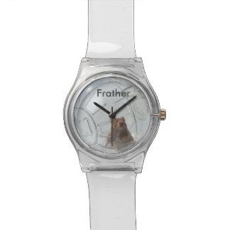 Hámster personalizado Frather en un reloj claro de