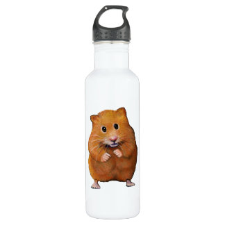 Hamster: Pet: Color Pencil Freehand Art Stainless Steel Water Bottle