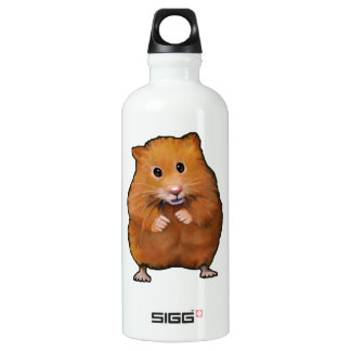 Hamster: Pet: Color Pencil Freehand Art Water Bottle