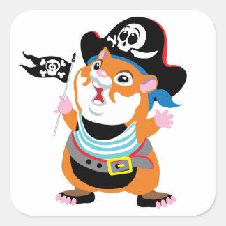 hamster pirate square sticker