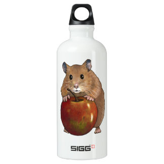 Hamster With Apple: Drawing, Freehand Art Aluminum Water Bottle