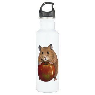 Hamster With Apple: Drawing, Freehand Art Stainless Steel Water Bottle