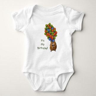 Hamster with Balloons, It's My Birthday! Baby Bodysuit