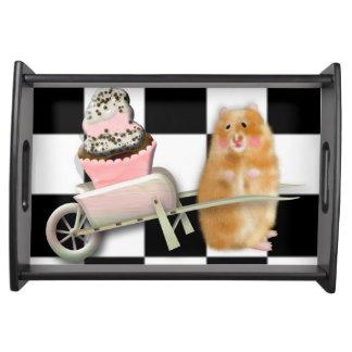 Hamster with cupcake bandeja