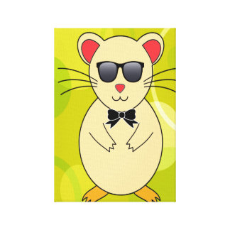 Hamster with Sunglasses and Ribbon Bow Canvas