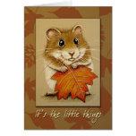 Hámster y hoja del otoño - tarjeta de la acción de