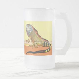 hámster y iguana verde jarra de cerveza esmerilada