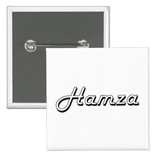 Hamza Classic Retro Name Design 2 Inch Square Button