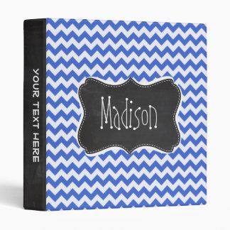 Han Blue Chevron Stripes; Chalkboard look 3 Ring Binder