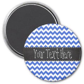 Han Blue Chevron Stripes; Chalkboard look Refrigerator Magnet