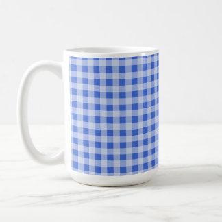 Han Blue Gingham; Checkered Classic White Coffee Mug