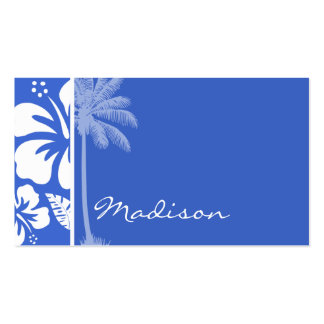 Han Blue Hawaiian Tropical Hibiscus; Palm Double-Sided Standard Business Cards (Pack Of 100)