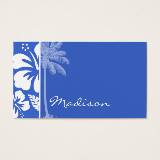 Han Blue Hawaiian Tropical Hibiscus; Palm Business Card