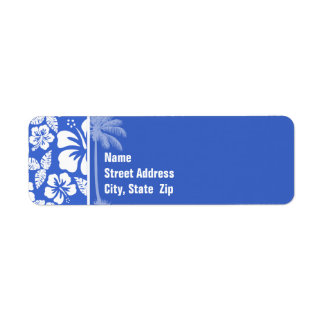 Han Blue Hawaiian Tropical Hibiscus; Palm Label