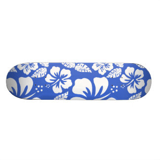 Han Blue Hawaiian Tropical Hibiscus Skateboard Deck