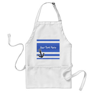 Han Blue Horizontal Stripes; Nautical Anchor Adult Apron