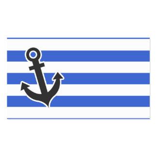 Han Blue Horizontal Stripes; Nautical Anchor Business Card