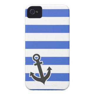 Han Blue Horizontal Stripes; Nautical Anchor iPhone 4 Case