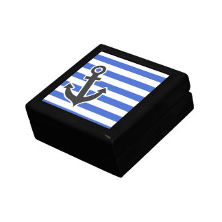 Han Blue Horizontal Stripes; Nautical Anchor Jewelry Box