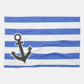 Han Blue Horizontal Stripes; Nautical Anchor Kitchen Towel