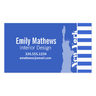 Han Blue Horizontal Stripes; New York Business Card Templates